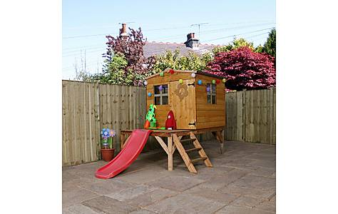 image of 8ft X 7ft Tongue & Groove Playhouse Tower + 2 Windows And Slide