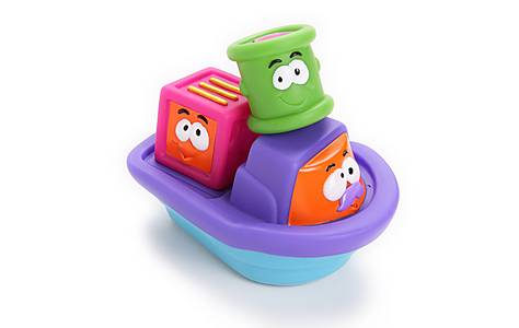 image of Bkids Stacking Block Tugboat Bath Toy