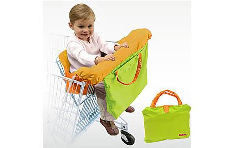 image of Beaba Baby Comfort Seat For Shopping Trolley - Orange & Green