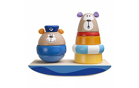 image of Chicco Sailor Friends Wooden Toy Stacker