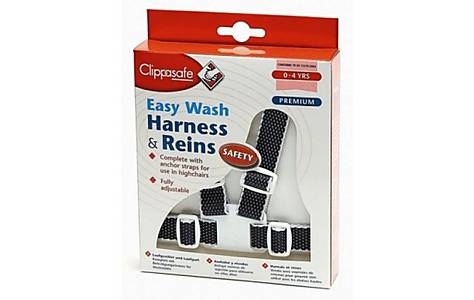 image of Clippasafe Easy Wash Harness & Reins Navy & White