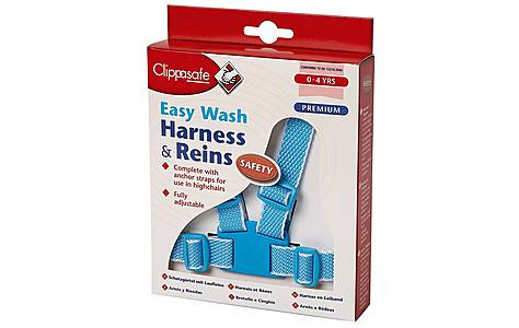 image of Clippasafe Easy Wash Harness & Reins (sky Blue & White)