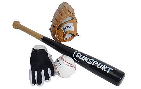 image of Baseball Gloves, Bat & Ball