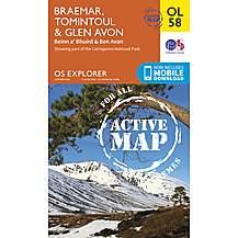 image of Os Explorer Active - 58 - Braemar, Tomintoul & Glen Avon