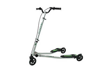 image of Kidzmotion Swagger 3 Wheel Swing Scooter Speeder Drifter Large (10-13yr) White Frame / Green Trim