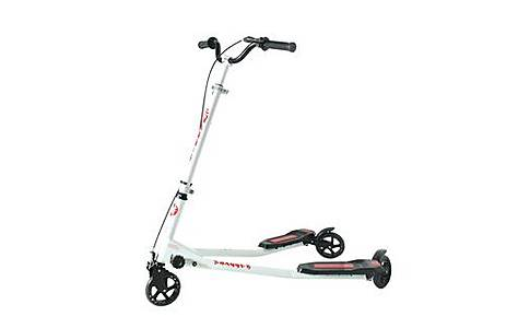 image of Kidzmotion Swagger 3 Wheel Swing Scooter Speeder Drifter Large (10-13yr) White Frame / Red Trim
