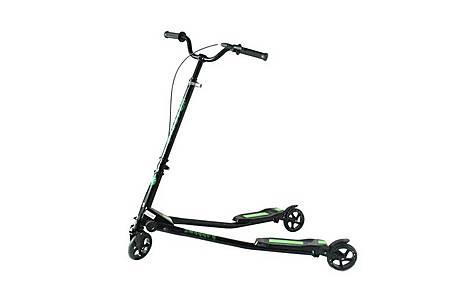 image of Kidzmotion Swagger 3 Wheel Swing Scooter Speeder Drifter Large (10-13yr) Black Frame / Green Trim
