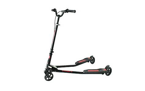 image of Kidzmotion Swagger 3 Wheel Swing Scooter Speeder Drifter Large (10-13yr) Black Frame / Red Trim