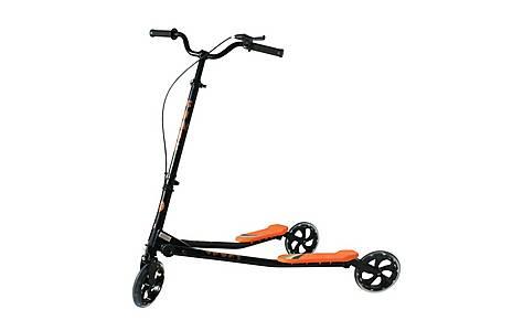 image of Kidzmotion Shway 3 Wheel Swing Scooter Speeder Drifter Black Frame / Orange Trim (14+ Years)xl