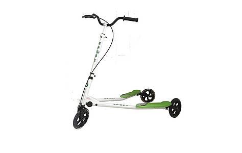 image of Kidzmotion Shway 3 Wheel Swing Scooter Speeder Drifter White Frame / Green Trim (14+ Years)xl