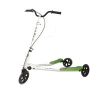 Kidzmotion Shway 3 Wheel Swing Scooter Speeder Drifter White Frame / Green Trim (14+ Years)xl