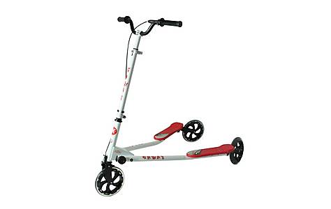 image of Kidzmotion Shway 3 Wheel Swing Scooter Speeder Drifter White Frame / Red Trim (14+ Years)xl