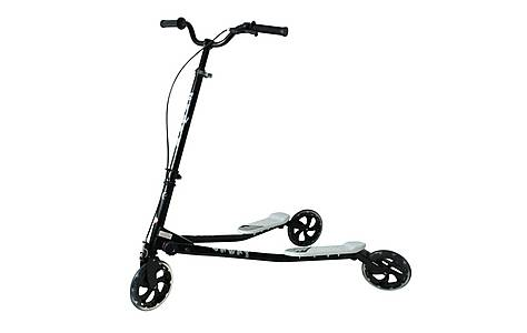 image of Kidzmotion Shway 3 Wheel Swing Scooter Speeder Drifter Black Frame / White Trim (14+ Years)xl