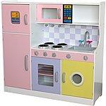 image of Kidzmotion La Grande Cuisine Girls Deluxe Large Wooden Toy Pretend Kids Kitchen