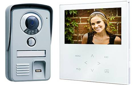 image of Video Door Intercom With A Flat Touch Screen Panel, Color Screen With Thumbprint