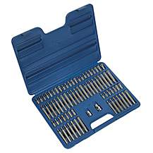 "image of Sealey Ak21974 Trx-star/security Trx-star/hex/ribe/spline Bit Set 74pc 3/8"""" & 1/2""""sq Drive"