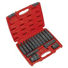 "image of Sealey Sx098 Impact Hex, Trx-star* & Trx-star* Female Socket Bit Set 16pc 3/4"""" & 1""""sq Drive"