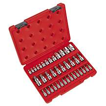 "image of Sealey Ak6197 Trx-star Socket & Security Socket Bit Set 38pc 1/4"""", 3/8"""" &1/2""""sq Drive"