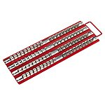 "image of Sealey Ak271 Socket Rail Tray Red 1/4"""", 3/8"""" & 1/2""""sq Drive"