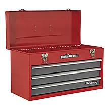 image of Sealey Ap9243bb Tool Chest 3 Drawer Portable With Ball Bearing Runners - Red/grey