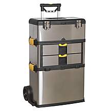 image of Sealey Ap855 Mobile Stainless Steel/composite Tool Box - 3 Compartment