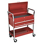image of Sealey Cx1042d Trolley 2-level Heavy-duty With Lockable Top & 2 Drawers