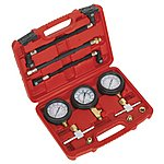 image of Sealey Ms100 Motorcycle Compression & Fuel Pressure Gauge Set 3pc