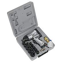 """image of Sealey Sa2/ts Air Impact Wrench Kit With Sockets 1/2""""""""sq Drive"""