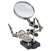 image of Sealey Sd150h Mini Robot Soldering Stand With Magnifier & Iron Holder