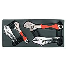 image of Sealey Tbt04 Tool Tray With Locking Pliers & Adjustable Wrench Set 4pc