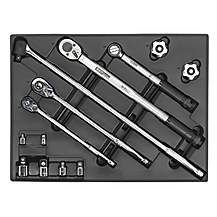 image of Sealey Tbt32 Tool Tray With Ratchet, Torque Wrench, Breaker Bar & Socket Adaptor Set 13pc