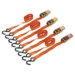 image of Sealey Td0540s4 Ratchet Tie Down 25mm X 4mtr Polyester Webbing With S Hooks 500kg Load Test - 2 Pairs