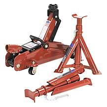 image of Sealey 1030cxdk Trolley Jack 2tonne Short Chassis With Axle Stands & Storage Case