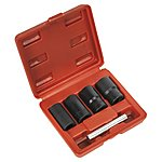 "image of Sealey Sx201 Locking Wheel Nut Removal Set 5pc 17, 19, 21, 22mm 1/2""""sq Drive"