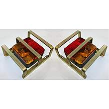 image of A Pair Of Square Four Function Trailer Lights With Heavy Duty Lamp Guards
