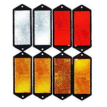 image of Trailer And Truck Reflector Set Rectangular Screw On 2 Red, 2 White And 4 Amber