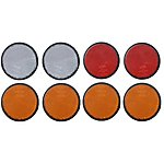 image of Trailer And Truck Reflector Set Round Stick On 2 Red, 2 White And 4 Amber