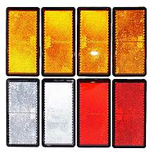 image of Trailer And Truck Reflector Set Rectangular Stick On 2 Red, 2 White And 4 Amber