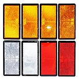 Trailer And Truck Reflector Set Rectangular Stick On 2 Red, 2 White And 4 Amber