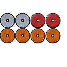 image of Trailer And Truck Reflector Set Round Screw On 2 Red, 2 White And 4 Amber
