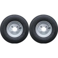 A Pair Of 400 X 8 Inch Trailer Wheels And Tyres With 4 Ply Tyre And 4 Inch Pcd