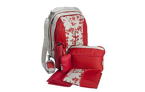 image of Babymule Changingbag/rucksack Red/grey