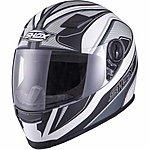 image of Shox Sniper Siege Motorcycle Helmet - Medium - White Gunmetal