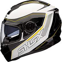 image of Shox Assault Tracer Motorcycle Helmet L Black/white/fluro
