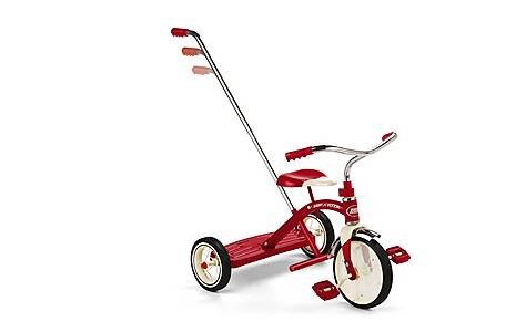 image of Radio Flyer Classic Red Trike With Push Handle