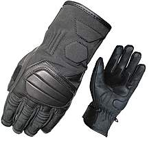 Black Duo Leather Motorcycle Gloves M