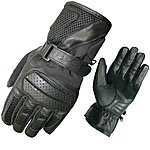 image of Black Airflow Leather Motorcycle Gloves M