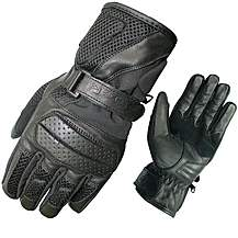 image of Black Airflow Leather Motorcycle Gloves Xl
