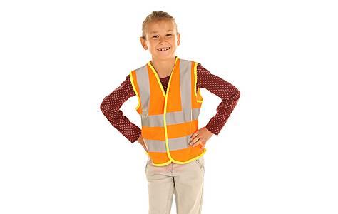 image of Edz Kidz Hi Visibility Vest For Kids, Orange, 10-12 Years
