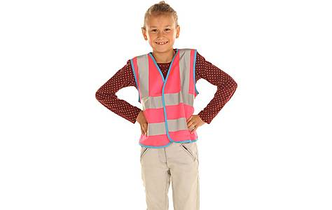 image of Edz Kidz Hi Visibility Vest For Kids, Pink, 7-9 Years